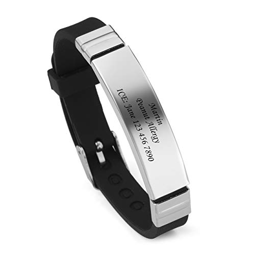 Zysta Personalisiert Gravur - Verstellbar Silikon Edelstahl SosArmband/ID Armband/Medical Alert Armband für Männer Frauen Kinder (schwarz) (Wie Man Survival Armbänder)