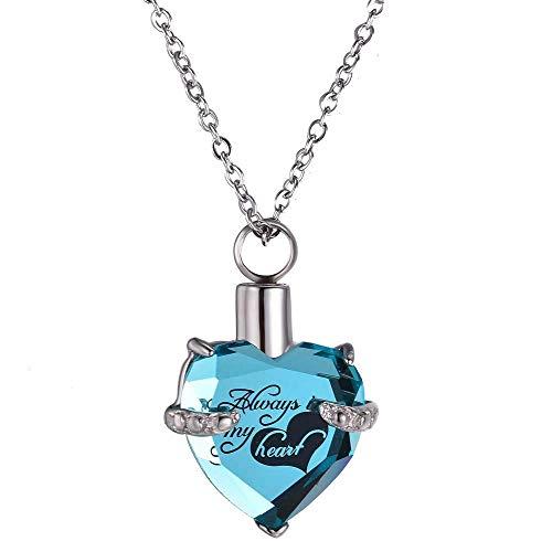 Tmendy Ashes Titanium Steel Necklace Urn - Herzform mit Gravur Always In My Heart Zum Gedenken an Ihre kleinen Geheimnisse, die Asche Ihrer Haustiere und Ihrer Lieben (Color : C) - Sand-souvenir-flasche