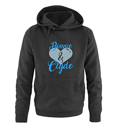 Comedy Shirts - Bonnie & Clyde - HERZ MOTIV - Herren Hoodie - Kapuze, Kängurutasche, Langarm, Print-Pulli Schwarz / Blau-Eisblau