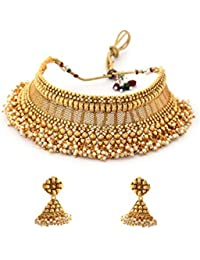 8fb324bf28 Rubans Gold Plated Handcrafted Filigree Choker Necklace Set