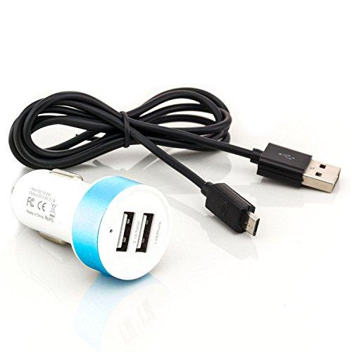 ter 2x USB-Port | Universal Auto Ladegerät für Tablet Smartphone Navi E-Book Reader | Farbe: Blau + USB-Kabel 1 m Schwarz (Amazon Prime-usb-auto-ladegerät)