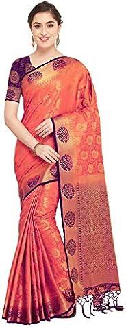Rajnandini Peach Silk Kanjivaram Traditional Saree For Women