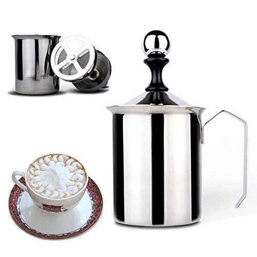 PCBHB Montalatte Schiumalatte in Acciaio Inox Doppia Rete Manuale Latte Creamer Schiuma Addensare Schiuma di Latte Mesh Tazza per caffè Latte Caldo al Cioccolato Cappuccino 400 Ml