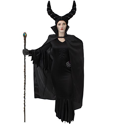 MALEFI = BÖSE STIEFMUTTER KÖNIGIN KOSTÜM VERKLEIDUNG = MÄRCHEN VERKLEIDUNG FÜR FASCHING UND KARNEVAL ODER HALLOWEEN = JEDES KOSTÜM BEINHALTET = DAS KLEID ERHALTBAR IN 7 GRÖSSEN + SCHWARZE HANDSCHUHE - Zauberin Make-up Für Halloween