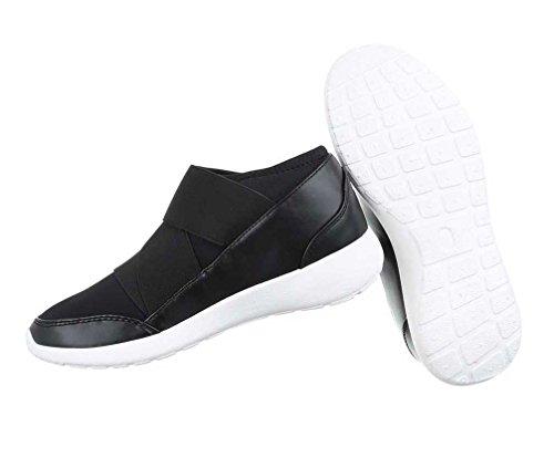 Damen Schuhe Freizeitschuhe Klettverschluss Schwarz Schwarz