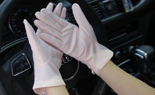 Coude Court Sexy Protection Uv du soleil Bloc de gants de conduite pour coiffeuse Rose - Rose