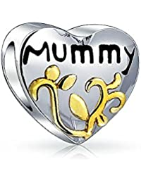 Bling Jewelry Two Toned Heart Shaped Mummy Gold Plated Foliage Charm Bead .925 Sterling Silver