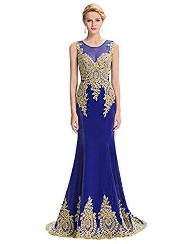 Prom Dresses Lace Floor-Length Party Robe Formal Mermaid Evening Dresses Blue Size 14 YF26-4
