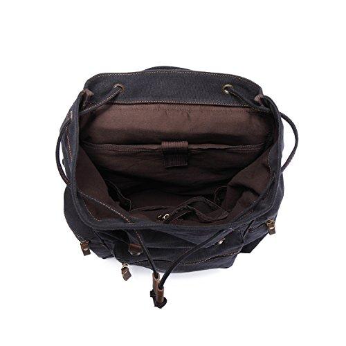 Vintage Rucksäcke,Kaukko Canvas Laptop Rucksack Damen Herren Schulrucksack Daypack Stylisch Backpack für Outdoor Wanderreise Camping mit Großer Kapazität (Grün 702-1) Schwarz-702-1
