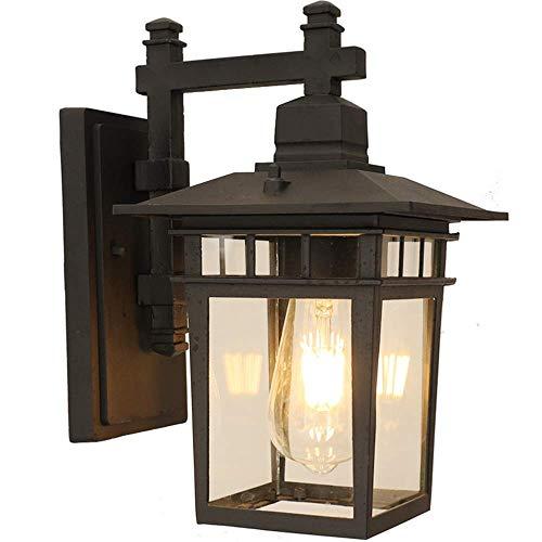 Retro Wasserdichter IP44 Außen-Wandleuchte Schwarz Wandlampe Aluminiumguss Glas E27 Außenleuchte Gartenlampe Außenlampe Eingangsbeleuchtung Wandbeleuchtung 23 * 18 * 31 cm Lampe-haus