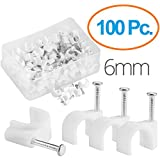 MutecPower 6mm Chiodini fermacavo/cavo clips in Bianco - 100 Pack