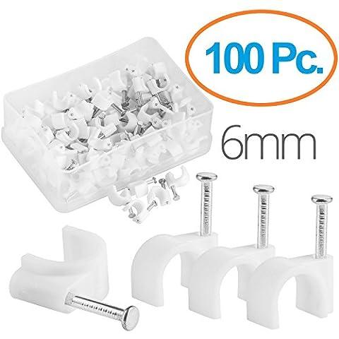 MutecPower Kabelschelle 6mm rund Nagelschelle Weiß - 100 Stück