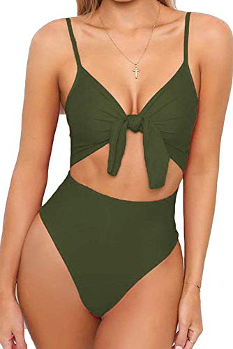 EUYOUZI Womens Strappy One Piece Swimsuits Tie Knot Front Bathing Suits Cut Out Monokini Swimwear (04 Army Green)