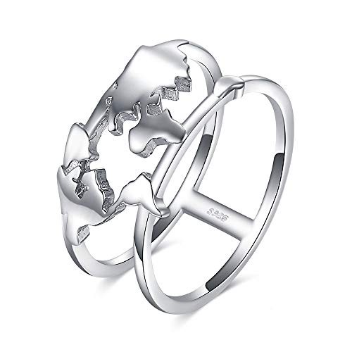Anelli Yuan Ou Anello Mappa del Mondo 925 Sterling Anelli d'Argento per Le Donne Dichiarazione Stackable Ring Band Argento 925 Gioielli Gioielli 8 Come Mostrato