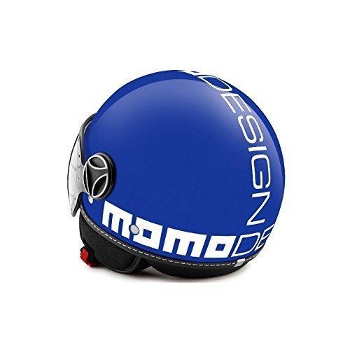 Helm Jet Momodesign Fighter Classic blau kobalt Schriftzug weiß Größe ML (Jet Helm Fighter)