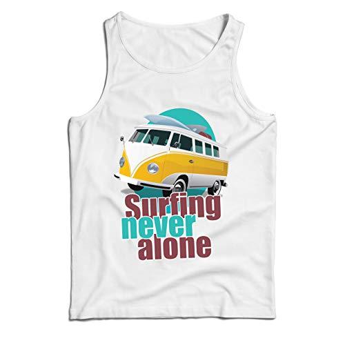 lepni.me Weste Surfen nie allein, Retro-Van, Surfer-Ferienkleidung (Large Weiß Mehrfarben) (Halloween Für Top-film-zeichen)