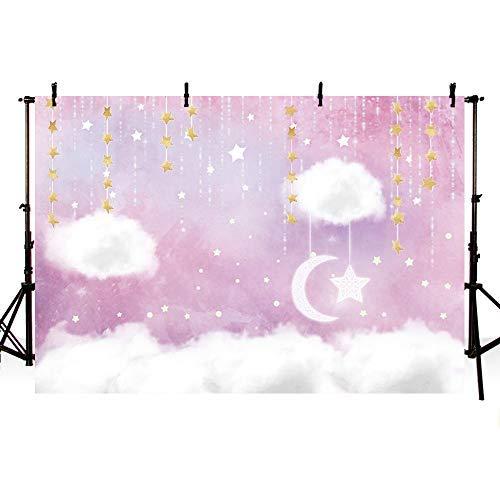 MEHOFOTO Foto-Hintergrund, süßer Cartoon-Regenbogen-Weißer Wolke, Geburtstagsparty-Dekoration, Banner Hintergrund für Fotografie 7x5ft Cloud-pink