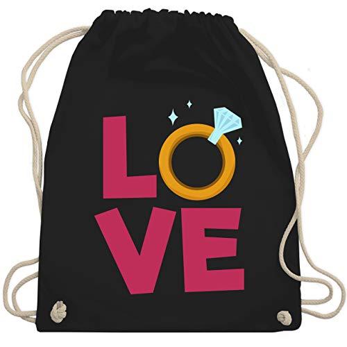 Verlobungsringe Kostüm - Hochzeit - Love Verlobungsring - Unisize - Schwarz - WM110 - Turnbeutel & Gym Bag