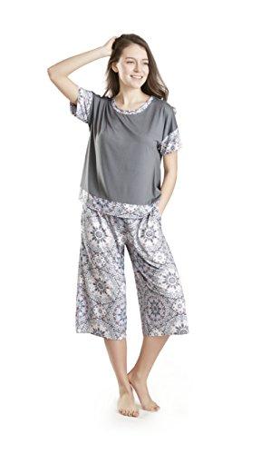 Damen Schlafanzug Pyjama Set Grau Gemustert - Sommer Nachtwäsche Oversized Shirt & Capri Lounge Hose - Schlafanzüge für Frauen - Day Dreamer (S) (Hose Grau Schlafen Baumwolle)