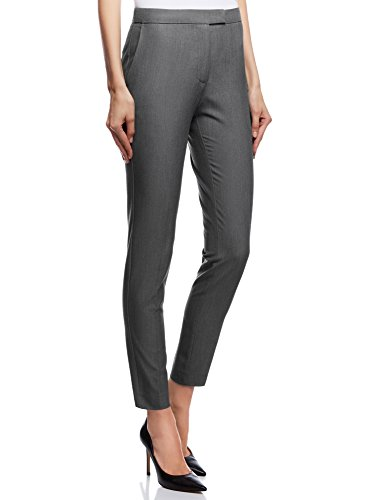 oodji Collection Donna Pantaloni Classici Stretti, Grigio, IT 44 / EU 40 / M