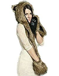 LATH.PIN Chapeau Animal Unisexe pour L'hiver en Fausse Fourrure avec un Foulard de Gants Chauds
