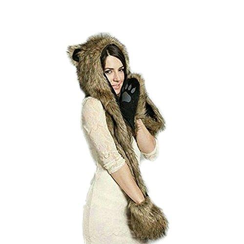 LATH.PIN Chapeau Animal Unisexe pour L'hiver en Fausse Fourrure avec un Foulard de Gants Chauds Ours
