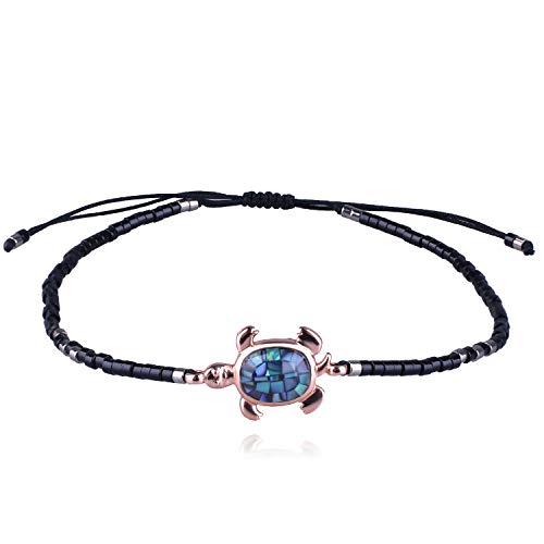KELITCH Abalone Schale Wulstig Armband Einstellbar Knoten Schildkröte Anhänger Samen Perlen Wickeln Armband Freundschaft Schmuck (Glänzend Schwarz)