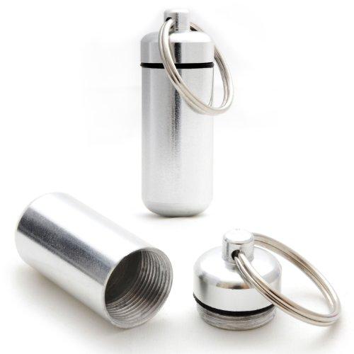 Preisvergleich Produktbild 2er SET Mini-Kapsel / Pillendose wasserdicht zur Aufbewahrung von Kleinteilen, Aufbewahrungsbox / Pillenbox als Schlüsselanhänger mit Schraubverschluss (Gummidichtung), Höhe: 45mm, Material: Aluminium, Farbe: Silber - Marke Ganzoo
