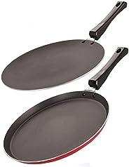 NIRLON Nonstick Cookware 3 Layer Combo Set of Roti Concave Tawa 28.5cm & Crispy Dosa Flat Tawa 27.5 cm (Al
