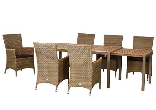 13-teilige Luxus Aluminium Teak Polyrattan Geflecht Gartenmöbelgruppe 'Hastings' , 6 Diningsessel, 6 Auflagen und ein Ausziehtisch Geneva 160/260x90, braun - sand
