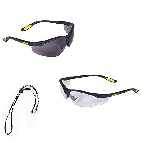 Dewalt Safety Glasses Reinforcer Clear Lens and Tinted Smoke Lens Safety Glasses +++Free Neck Cord / Lanyard