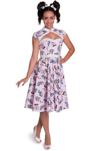 Hell Bunny dell'abito made DRESS 4319 Line rosa rosa Medium