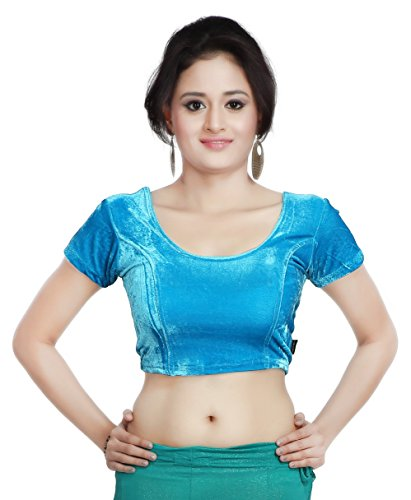Carrel Velvet Fabric Women Round Neck Blouse (2057-BL-LIGHTBLUE-L)