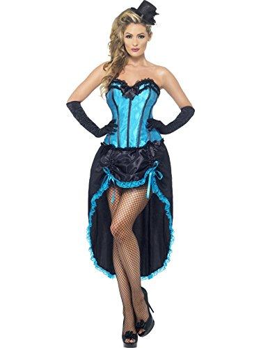Smiffys, Damen Burlesque Tänzerin Kostüm, Korsett und einstellbarer Rock, Größe: M, 22188 (Korsett Fancy Dress Kostüm)