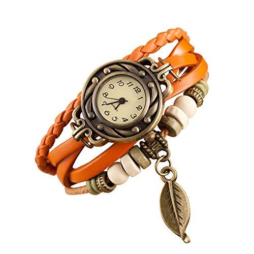 Doingshop Braune Vintage Geflochtene Gewickelte Dame Perlen Sling Armband Quarz Uhr Paar Beobachten Perlen Sling