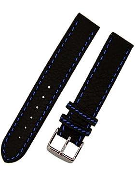 Uhrenarmband KANA 20mm blaue NAHT weiches KALBLEDER NEU 6928