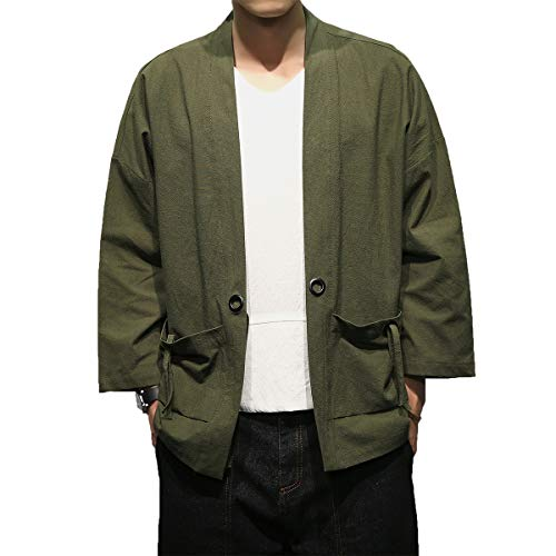 Mirecoo Herren Baumwolle Japan Happi Kimono Haori Jacke Übergangsjacke, Grün, L