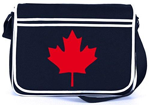 Shirtstreet24, CANADA/KANADA, Länder Retro Messenger Bag Kuriertasche Umhängetasche Navy