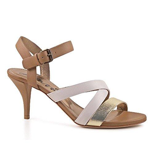 Sandales talon Lanvin en cuir color or/tan/blanc - Code modèle: AW5K2FNARP8A Or