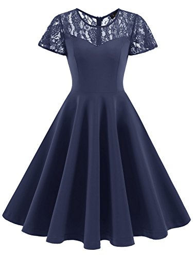 IVNIS RS90038 Damen Spitze Vintage Kleid 50er Rockabilly A-Linie Kurzarm Brautjungfernkleid Cocktail...
