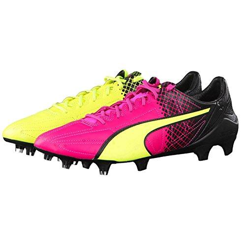 Puma Evospeed SL II Lth Tricks FG, Chaussures de Football Homme pink glo-safety yellow-black 01