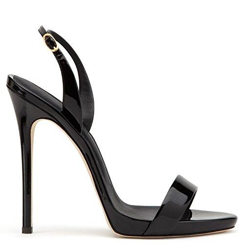 uBeauty Damen Knöchelriemchen Sandalen mit Schnalle Peep Toe Stiletto Sexy Sandalen Große Größe Schuhe Schwarz 37.5 EU Ankle Strap Peep Toe Sandalen