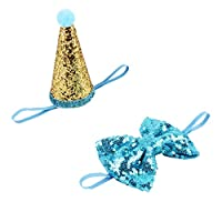 Blesiya Birthday Cap with Bowtie For Small Dog Puppy Party Costume Hat Pet Headwear Gift - Blue