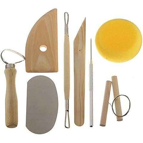 Malayas argilla ceramica Tool Kit Set Carving Scolpire Argilla e cera nastro strumenti Wire Cutter spugna ago Loop - Cera Sculpting Tools