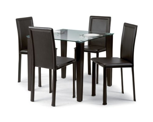 Quattro Dining Table - Square, glass top - Dark Brown Legs - L 90cm