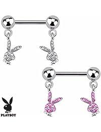 Playboy Adulto conejo con gemas de Pavé Dangle Acero Nipple Bar (se vende como par)