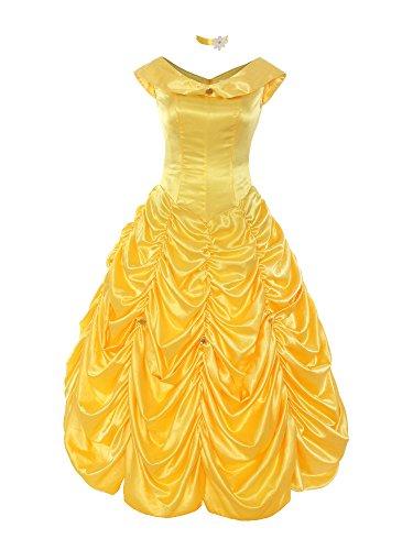 ider Elegant Belle Kostüm Prinzessin Kleid Brosche Einfarbig Armlos Falten Rock, Gelb, 42(L) (Kostüme Fingernägel)