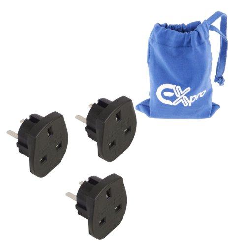 Ex-Pro Reiseadapter für UK-Stecker in 2pol. Steckdose (USA, Kanada, Australien), 3 Stück, schwarz