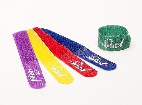 Home Zone Pack de 20 Attache-câble en tissu - Pour organiser tout type de câblage - Finition multicolore