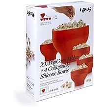 Lékué XL Popcorn - Set para microondas con un molde de silicona y 4 boles.